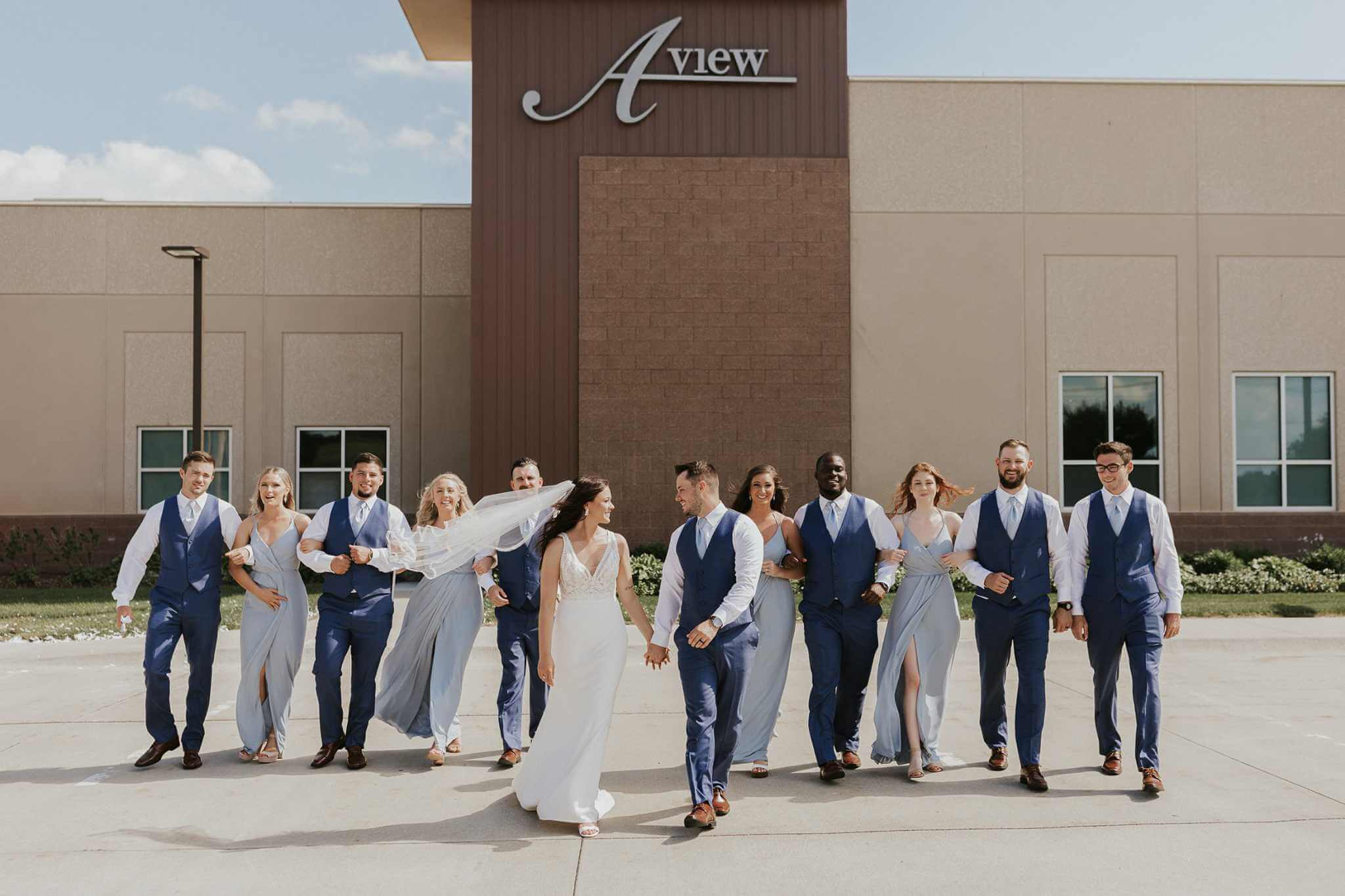 Wedding Party outside A View on State